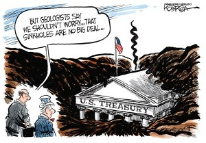 "Jeff Koterba cartoon for March 19, 2013 ""Sinkhole Treasury Budget"""