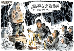 "Jeff Koterba cartoon for January 28, 2014 ""State of the Union Poverty"""